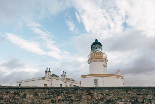 Lighthouse at Chanonry Point. Moray Firth, Scotland.
