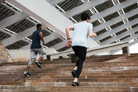 Athletes training on the street.