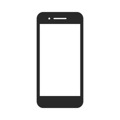 Smartphone vector icon for background graphic design. Modern black vector illustration of mobile gadget in flat style. Phone display with white screen isolated on white background.