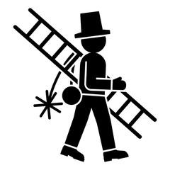 gz649 GrafikZeichnung - german - Schornsteinfeger Symbol - english - chimney sweep icon. simple template - square - poster xxl g8873