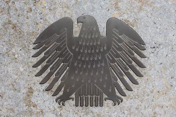 The german eagle (Bundesadler), the logo of the German Bundestag - Berlin, Germany - June 2018
