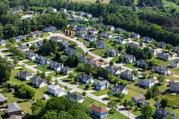Fototapeta Aerial view of pleasant middle class suburban homes and streets near Atlanta Georgia.   obraz