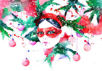 Photo sur Aluminium Peintures beautiful woman on Christmass party