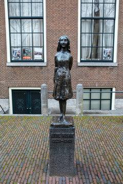 Anne Frank Statue in Amsterdam, Netherlands