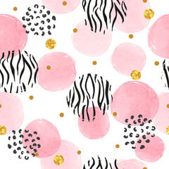 Seamless dotted pattern with pink circles and zebra print. Vector abstract background with watercolor shapes.