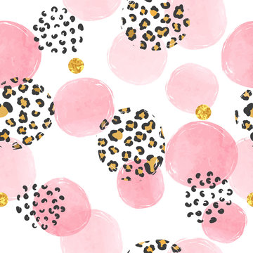 Seamless dotted pattern with pink circles and leopard print. Vector abstract background with watercolor shapes.