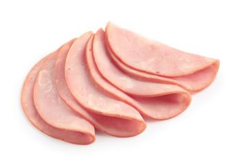 Fototapeta Slices of tasty fresh ham isolated on white obraz