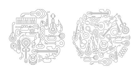 Two options Line art Musical Instruments
