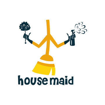 Housemaid Logo Stock Vector Illustration. unique maid logo. cleaning service. house maid. vector illustration