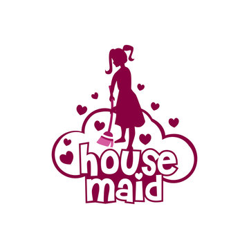 Housemaid Logo Stock Vector Illustration. unique maid logo. cleaning service. house maid. vector illustration
