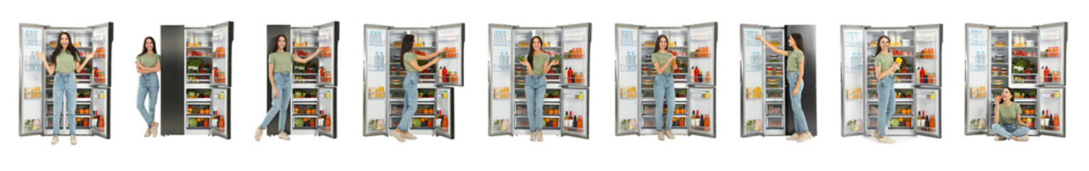 Collage of woman near open refrigerators on white background