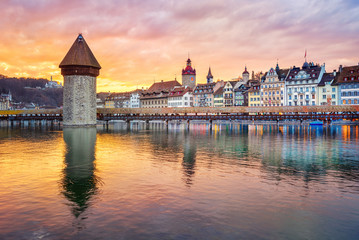 Wall Mural - Dramatic sunset over historical Lucerne Old town, Switzerland