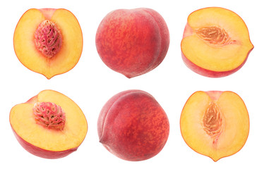 isolated peaches. Collection of whole and cut in halves peach fruits isolated on white background with clipping path