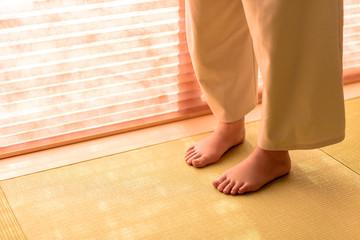 写真素材:女性、足、畳、和室、室内
