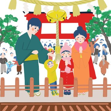 初詣,お正月,正月,参拝,神社,お参り,人物,家族