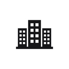 Office building sign icon in flat style. vector illustration