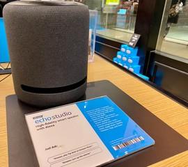 NEW YORK- DECEMBER 30, 2019: Amazon Echo Studio high fidelity Smart speaker with immersive sound. Built-in smart home hub. AMZN Jeff Bezos CEO. Virtual assistant Alexa. Play music, news, information.