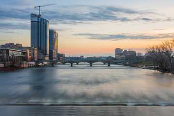 View of the Grand River in downtown Grand Rapids, Michigan