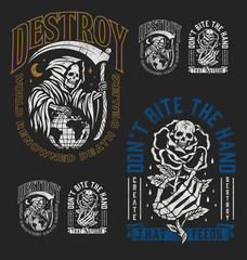 A set of two edgy tattoo style illustration graphic designs for t-shirts or other merchandise