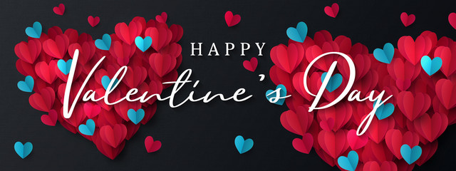 Happy Valentine's Day banner. Holiday background design with big heart made of pink, red and blue Origami Hearts on black fabric background. Horizontal poster, flyer, greeting card, header for website
