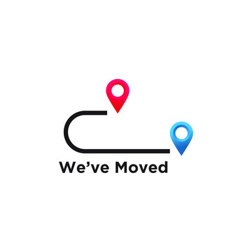 we've moved minimal icon with pin. Moving office sign. vector illustration