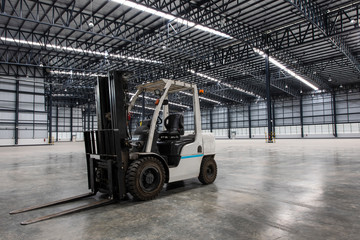 forklift in a modern warehouse