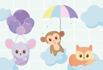 Cute mouse monkey and fox cartoon vector design