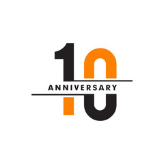 10th celebrating anniversary emblem logo design vector illustration template