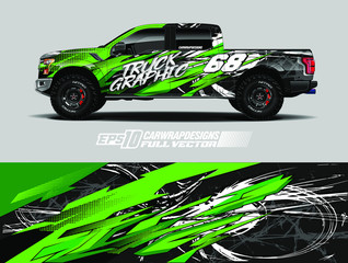 Pickup truck wrap design vector. Graphic abstract stripe racing background kit designs for wrap vehicle, race car, rally, adventure and livery. Full vector eps 10