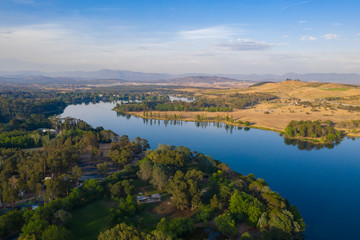 Printed kitchen splashbacks River Aerial panoramic view of Lake Burley Griffin looking south toward Molonglo River on a sunny morning