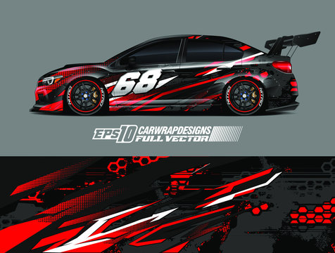 Car wrap design vector. Graphic abstract stripe racing background kit designs for wrap vehicle, race car, rally, adventure and livery. Full vector eps 10