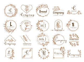 Vector floral border and logo design templates hand drawn style.vector illustration Wall mural