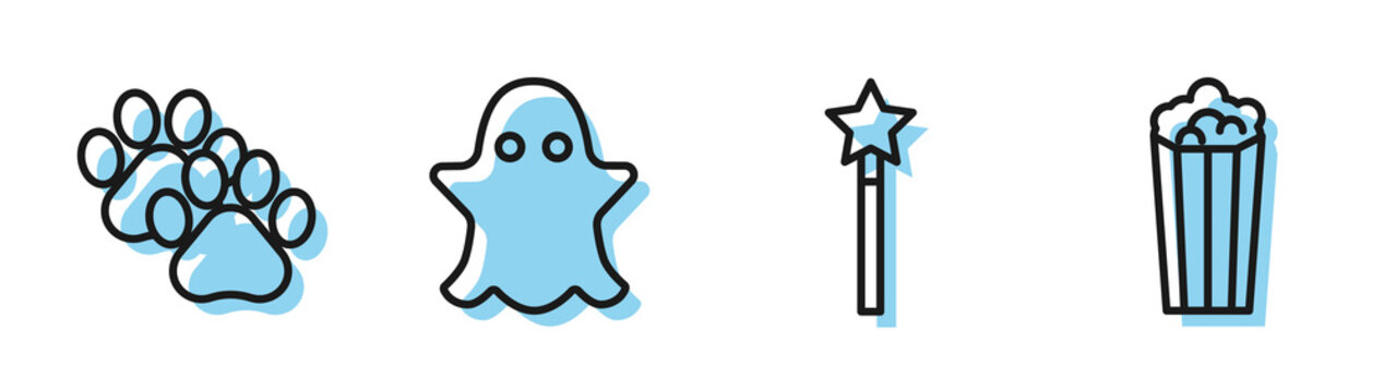 Set line Magic wand, Paw print, Ghost and Popcorn in cardboard box icon. Vector
