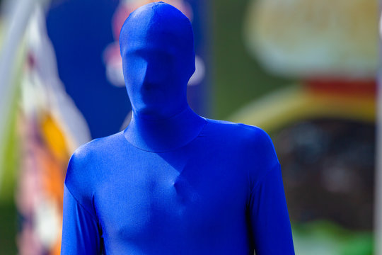Blue Man Head Covered Full Body Lycra Suit