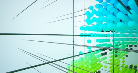 Abstract white and colored gradient  interior multilevel public space from array spheres with window. 3D illustration and rendering. Fotoväggar