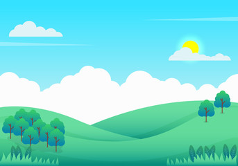 Nature landscape vector illustration, Beautiful hills landscape vector illustration with trees and bright sky suitable for background