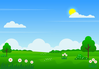 Summer landscape vector illustration with blue sky, clouds, sun, green meadow, flowers and trees suitable for kids background