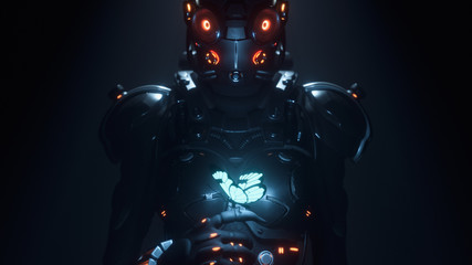 3d illustration of sci-fi cyborg female in shiny black metal armor suit with helmet with red luminous glasses looking at the glowing butterfly landed on her finger in a night scene with air pollution.