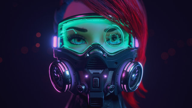 3d illustration of a front view of a cyberpunk girl with short red hair wearing futuristic gas mask with protective green glasses and filters standing in a night scene with air pollution. Concept art.