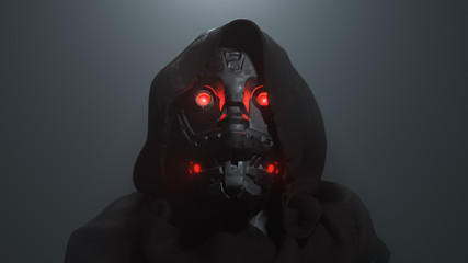 3D digital illustration of cyborg head with red luminous eyes in the hood in the night scene. Science fiction helmet with dark metal. Robot with artificial intelligence. Concept art futuristic soldier Fotobehang