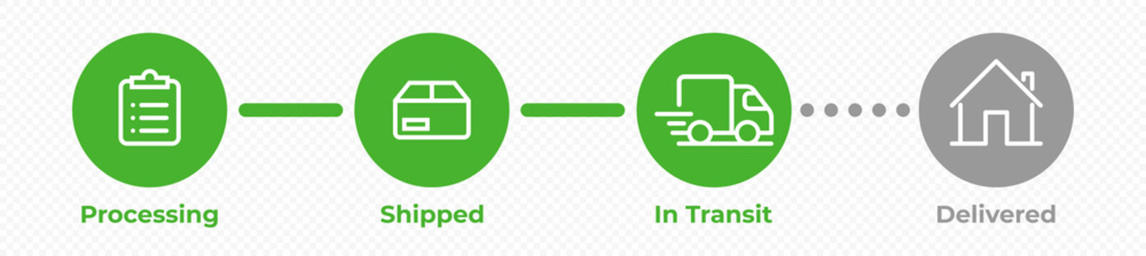 Order delivery status, post parcel package tracking vector icons. Order parcel processing bar, ship, in transit and delivery signs for express courier delivery app and web flat simple icons