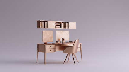 Bronze Small Contemporary Home Office Setup 3d illustration 3d rendering