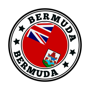 Bermuda sign. Round country logo with flag of Bermuda. Vector illustration.
