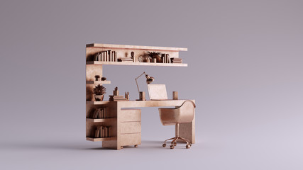 Bronze Small Contemporary Home Office with Laptop an Shelves 3d illustration 3d rendering