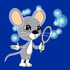 emoticon with a cool mouse that stands and blows bubbles, color vector clip art on blue isolated background