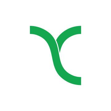 letter yc geometric linked simple line logo vector