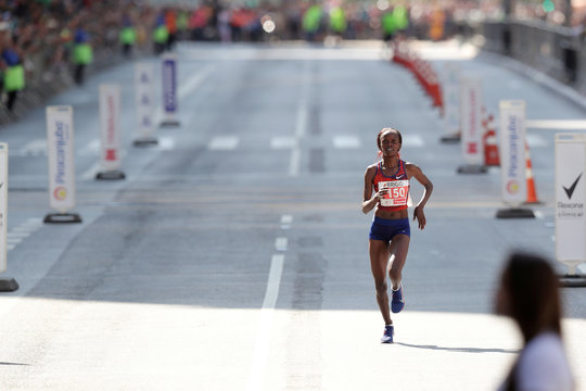 "Brigid Jepchirchir of Kenya runs the lasts meters before the finish line to win the annual ""Sao Silvestre Run"" in  Sao Paulo"