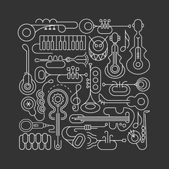 Music Instruments line art Square