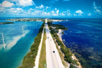 Aerial view of famous bridges and islands in the way to Key West, Florida Keys, United States. Great landscape. Vacation travel. Travel destination. Tropical scenery. Caribbean sea.