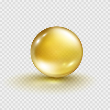 Gold bubble isolated on transparent background. Cosmetic vitamin capsule or oil pill. Golden glass ball template. Vector 3d serum collagen essence.